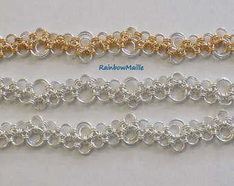 Japanese Lace Bubbles 12-in-2 Stepping Stones pattern chainmaille Bracelet by RainbowMaille