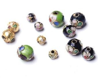 10pcs DIY Nepal  Handmade Filigree Copper Cloisonne Beads (Bead Size: 6mm)-WEN38927098016-GVN