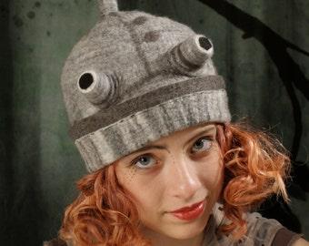 Robot Hat - Gray Wool Robot - Hand Felted Wool Robot - Robot Cap