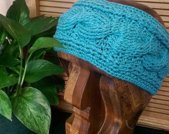 Cotton Liat Cable Headband (Turquoise)