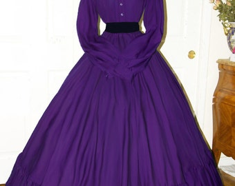 I-D-D Civil War Reenactment Victorian Garibaldi Purple 3 Piece Dress L/XL