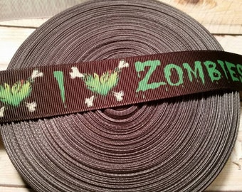 I heart zombies Grosgrain Ribbon, hororr ribbon, zombie ribbon