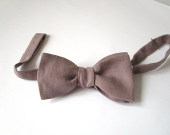 Bowtie - Taupe Linen - Classic Freestyle - Self Tie - Handmade by Strictly Bow Ties - Shipping Worldwide.