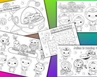 Octonauts Birthday Party Favor, Octonauts coloring pages, PDF file