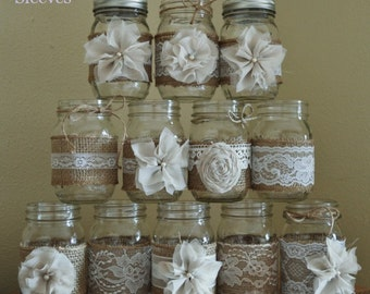 Set of 12 Mason Jar Sleeves,Burlap Wedding Centerpieces, Mason Jar Wedding, Rustic Wedding Decorations, Shabby Chic, Jar Not Included