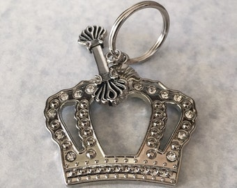 Silver keychain, princess keychain, crown keychain, metal keychain
