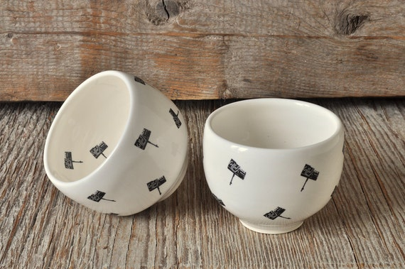 One porcelain espresso/tea cup with vintage COFFEE SHOP signs