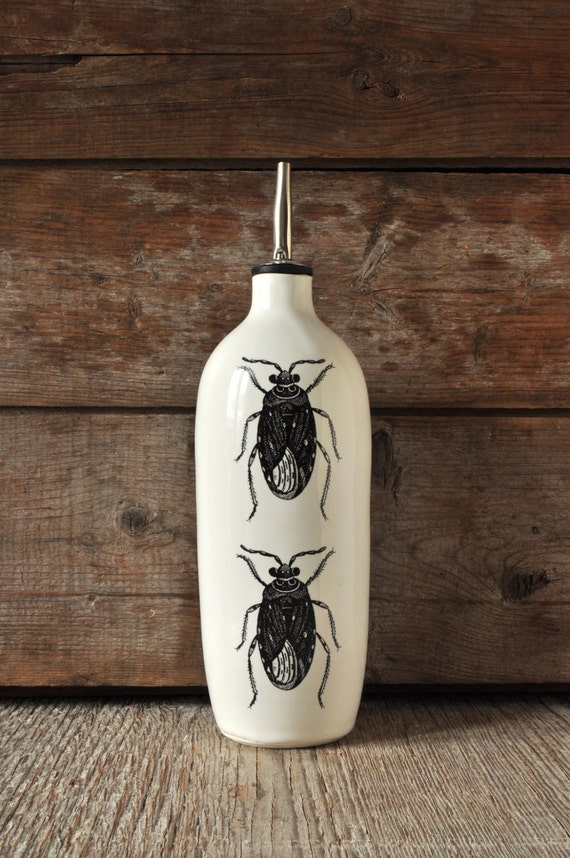 Porcelain oil/vinegar bottle with vintage INSECT prints