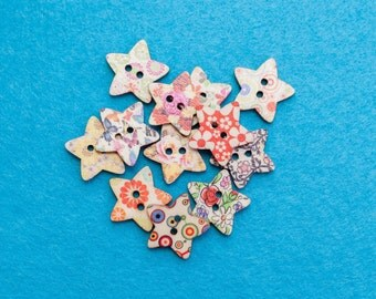 Floral Star Buttons