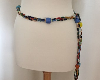 Vintage Jewelry Murano Multi Colored Glass Beads Belt / Necklace