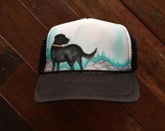 Black Lab Hand Painted Trucker Hat
