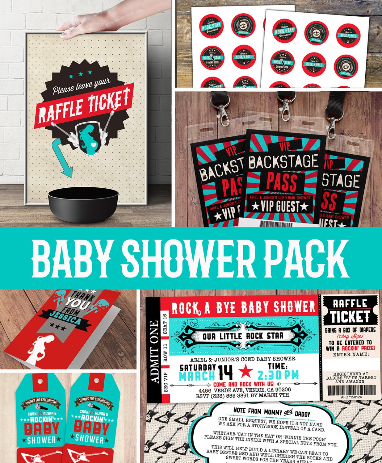 Party Pack, Party Decorations, Coed Baby Shower Invitation  Rockstar  Invitation  Boy Baby Shower, Thank You, Raffle Ticket, Party Sign