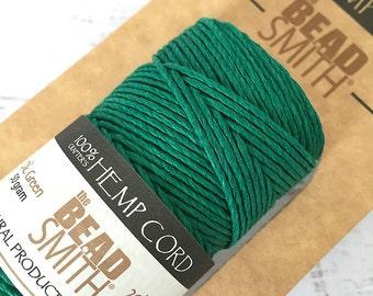 Natural Hemp Cord, 1mm 20lb test, BeadSmith Green Hemp Cord, Large Spool of Hemp String in Dark Green, Hemp Macrame Cord, 60 meters (HEM-15)