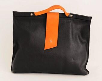 "Mens business bag-Handmade Ludena, black and brown, briefcase-Handbag for your MacBook 15"", iPad, books, folders, ect."