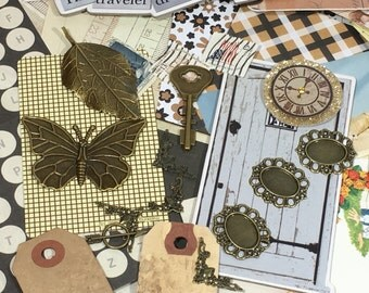 Junk journal, vintage inspired, Browns paper inspiration kit, destash Scrapbook kit, smashbook kit, Scrapbook grab bag, scrapbook pack