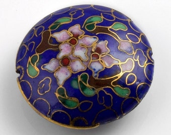 Cloisonne on brass disk bead. 35x10mm. Pkg of 1. b2-454(e)