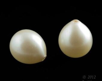 Vintage 1-hole teardrop glass pearl, Spain 21x10mm 4 pcs. b11-pr-0148(e)