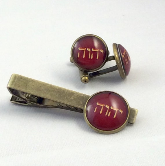JW Tetragrammaton Cufflinks /Tie bar Set 14mm /16mm.  Blue Velvet gift bag, Three color choices and two finishes!