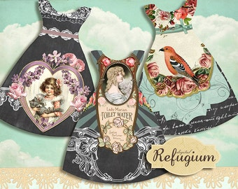 little dresses, Tags, INSTANT DOWNLOAD, digital Collage Sheet, printable,romantic vintage