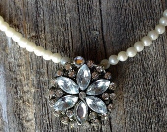 Pearl with Rhinestone Medallion Necklace