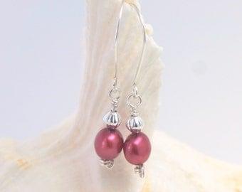 Red Pearl Earrings   Freshwater Pearl Earrings   Silver Pearl Earrings   Red Pearl Dangles   Pearl Drop Earrings   Red Freshwater Pearls