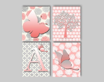 Nursery butterfly wall print,Canvas art for baby girls,butterfly crib bedding,pink-grey,personalized wall print,monogram,canvas tree art 106