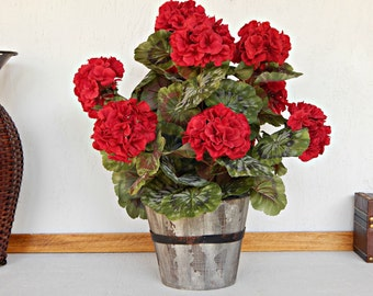 Red Flower Arrangement, Faux Potted Plant, Artificial Plant, Silk Geraniums in Container
