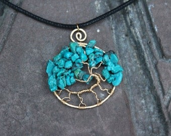 14K Gold Filled Turquoise Dyed Magnesite Tree of Life Wire Wrapped Pendant - Protection Necklace - Spiritual Pendant