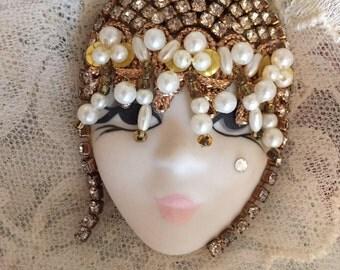 Vintage Brooch Rhinestones Faux Pearls Hand Painted