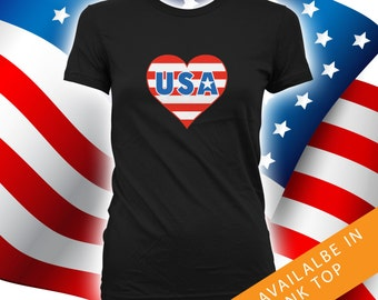 I Heart USA Shirt - happy 4th of july tshirt men, women tshirt, independence day, fourth of july, july 4th shirts, CT-465