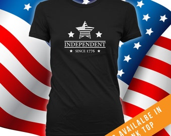 Independent tshirt men, women, independence day, happy fourth of july tee, july 4th shirt, july fourth celebration, USA, patriot - CT-472
