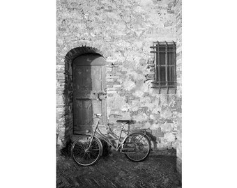 Bicycle photograph, black and white Italy photography, sepia photography, vintage photography, Siena, Tuscany, Italy