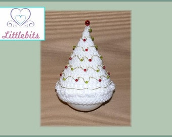 Littlebits Newborn Baby Crocheted White n Gold Thread with Red/Green Crackle Glass Beads Christmas Tree Beanie -  Handcrafted in Australia