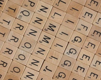 100 scrabble tiles, vintage bulk letters, complete set from Dutch Scrabble game