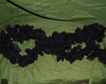 Black Lace Ruffle Scarf