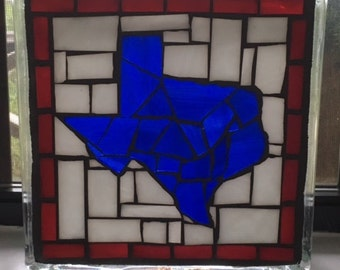 Stained Glass Mosaic on Glass Block- Texas/ NEW LISTING!!