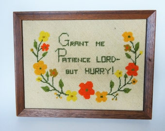Vintage Framed Needle Point Wall Hanging