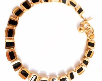 Vintage Anne Klein Matte/ Swtin Gold & Black Themroset Necklace. Art-Moderne/ Egyptian-Revival