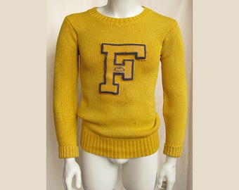 Mens' Vintage 1950s Varsity Letter Sweater Football
