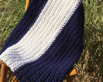 Crochet Chunky Throw Blanket- Navy Blue and White