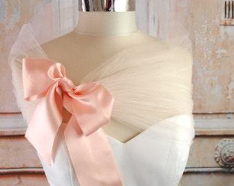 Blush Tulle Shawl Tulle Shrug Tulle Bolero Blush Evening Wrap Portrait Stole Wedding Shawl Blush Bridesmaids Shoulder Wrap