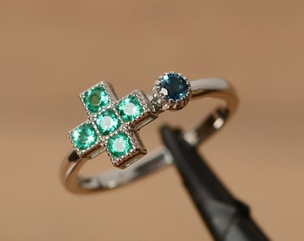 lab emerald ring silver multistone ring may birthstone ring silver ring statement ring cross ring