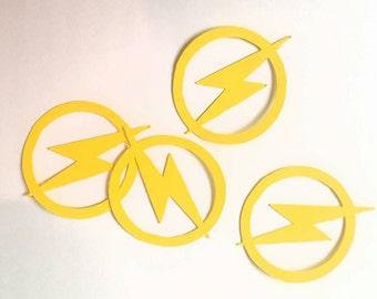 Flash table confetti logo lightning bolt super hero party geek nerd comic 100 pcs dc comics 1.5 inches