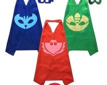 PJ Masks Set of 3, 6, 9, or 12 Catboy Owlette Gekko Halloween Party Costumes - Satin Capes and Felt Masks