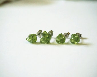 Christmas gift Natural asymmetry Crystal Peridot Raw Stone Studs Small tiny Cute August Birthstone Handmade Earrings