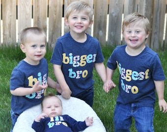 Lil Bro, Big Bro, Bigger Bro, Biggest Bro - Matching Big Brother, Little Brother Shirt Set, Sibling Set, New Baby Announcement