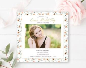 Senior Model Call Template, Senior Photography Template, Senior Rep, Photo Casting Call, 5x5 - INSTANT DOWNLOAD