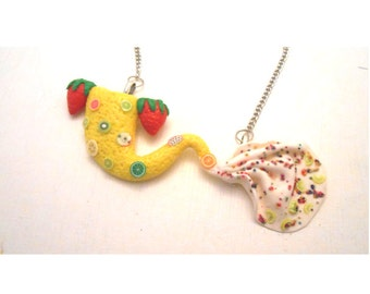 One of a kind mermaid tail necklace made out polymer clay (all my jewelry is nickelfree!)