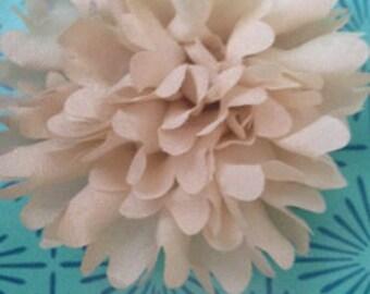 Creamy  Beige Shabby Flower Hair Clip