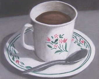 "Cup and Saucer""  kitchen art oil painting, 6 x 6 inch on Canvas panel"